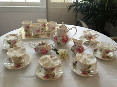 Teaware Gracie' Fine China  Porcelain  Floral 19 Pc Tea Set For 6 Per-New+Bonus!
