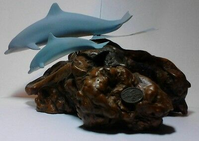 """""""john Perry"""" Blue Dolphin Collectable Sculpture...burlwood Base With Tag"""