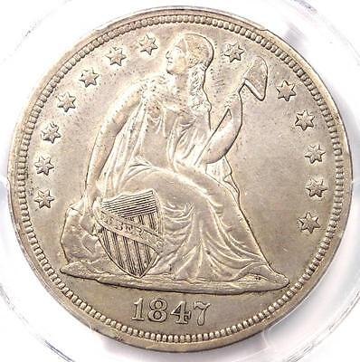 1847 Seated Liberty Silver Dollar $1 - PCGS AU Details - Rare Early Date Coin
