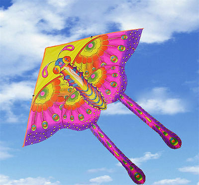 1X Children's Toy 50-CM Outdoor Fun Sports Printed Long Tail Butterfly Kite Fad.