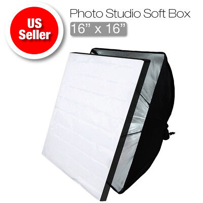 "16"" x 16"" Photography Soft Box Reflector w/ White Cover Continuous Lighting"