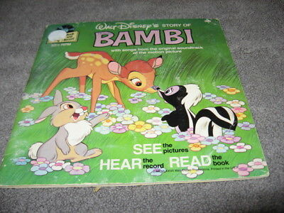 WALT DISNEY BAMBI READ-ALONG BOOK & RECORD 33 13  1977 #309  Near mint-