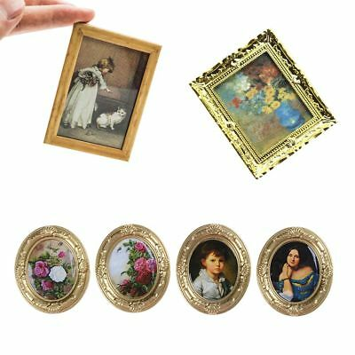Cute Mini Wall Painting 1:12 Dollhouse Decor Miniature Framed Doll Accessories