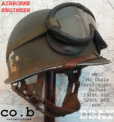 WWII US M2 Dbale Paratrooper Helmet 101st Abn.326th AEB w/complete Para Liner