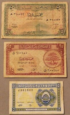 1948-50, Lebanon 50,25 & 5 Piastres Paper Note Set, Nice Circulated!