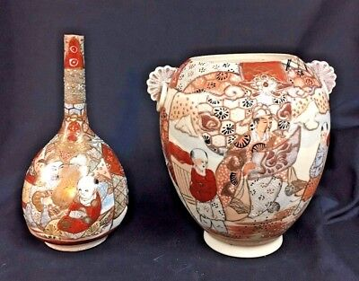 2 Pcs Antique Satsuma Pottery