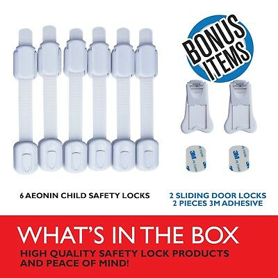 Aeonin- Adjustable Child Safety Locks For Baby Proofing Cabinets - Drawers Toile