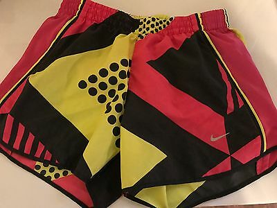 Woman's Nike Dri Fit Pink And Yellow Running Athletic Shorts Size Small