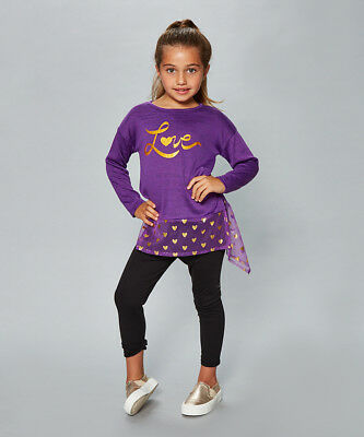 """Dollie Me Girl 4-14 and 18"""" Doll Matching Love Top Leggings Outfit American Girl"""