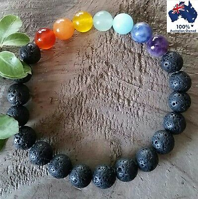 Chakra LAVA STONE Bracelet 7 Natural GEMSTONE CRYSTAL Aromatherapy Oil Diffuser