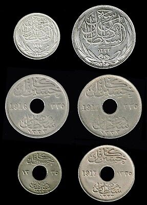 EGYPT, British rule:- 6 different  WW1 1916 & 1917 circulation coins. AP6238