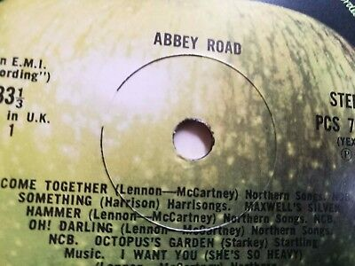 Beatles LP Abbey Road UK Apple Press -3 -4 NEAR MINT SEE SPINDLE HOLES