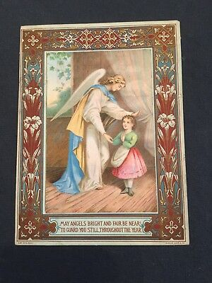 Victorian Christmas Card Angel And Child