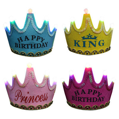 Prince Princess Crown Birthday Party LED Light up Hats  Cap Children Kids Adults