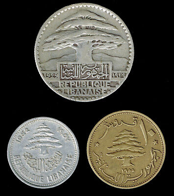 LEBANON:- 3 different French rule & Republic circulation coins. AP6239
