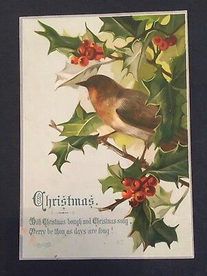 Victorian Christmas Card Robin In Holly Tree