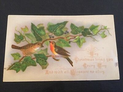 Victorian Christmas Card Birds In Ivy