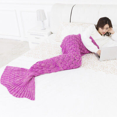 Warm Pink Mermaid Tail Fish Scales Blankets Sofa Sleeping Bags for Kids Adults