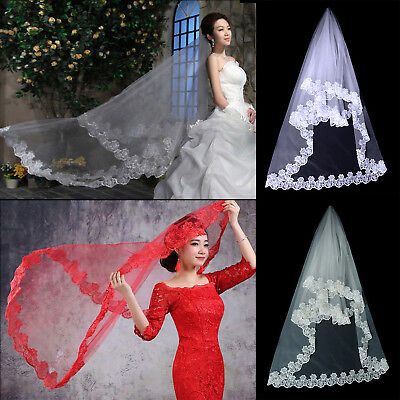 1 Layer Wedding Bridal Veil Lace White/Ivory Cathedral Length Birdcage Edge Best