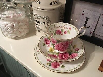 Royal Albert Flower Of Month November 1970 cup saucer and plate trio