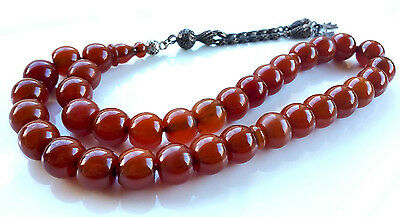 Amber Bakelite 33 Prayer Beads Misbaha Tasbih Beads size: 13.70 X 11.60mm