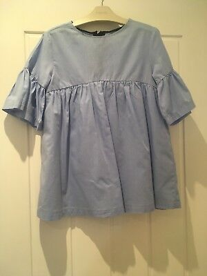 Zara Girls Blue Fluted Sleeve Dress Sold Out! Age 5