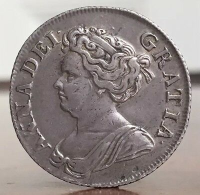 Anne, Shilling, 1711. With Old Collection Label. Ex-Baldwins, 1918.