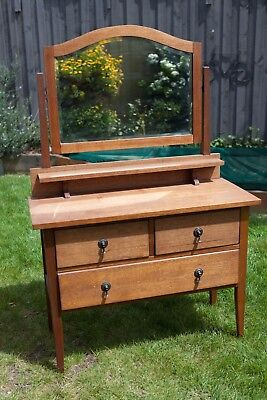 Timber Dressing Table with Draws and Mirror