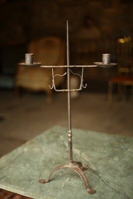 18th Century iron adjustable primitive candlestick, folk art