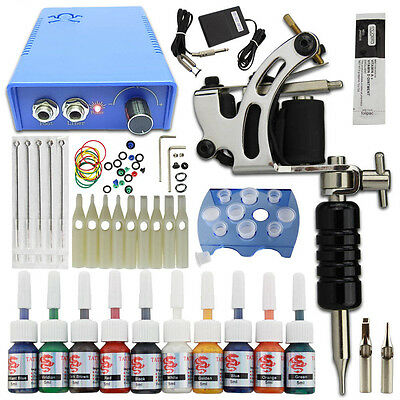 Complete Tattoo Kit 1 Machine Gun 10 Ink Needle Power Supply Set Grip Cup Pedal