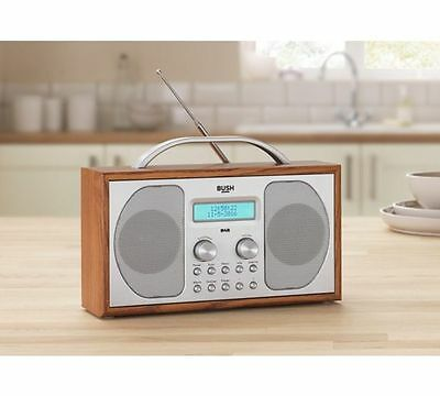 Bush Wooden DAB Radio portable mains 20 presets FM auto scan mains battery