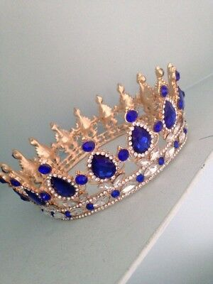 Dark Blue Crown . Wedding Crown . Prom / Stage Prop Full Crown. Wedding  Pageant