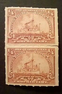 UNITED STATES STAMPS - 1898 - REVENUE - PROPRIETARY - PAIR OF 1/4c BROWN - MH