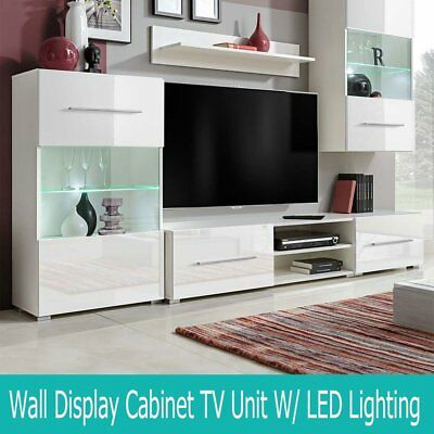 5Pcs Wall Display Cabinet TV Unit Chest with LED Lighting White Home Living Room