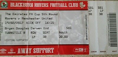 Blackburn Rovers vs Man Manchester United Utd 2017 2016/17 FA Cup Ticket Stub