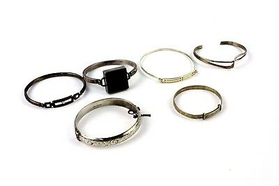 Lot of 6x Vintage .925 STERLING SILVER Hinged Bangles Mixed Styles/Designs - 86g