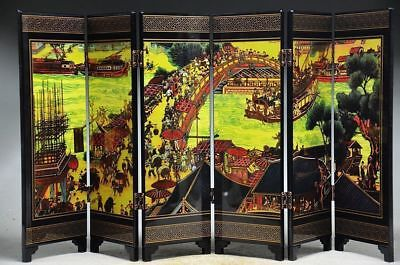 """Collectible Chinese Art Lacquer Painting """"qingming River Map""""screen"""