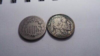 """United States, 5 (""""V"""") Cents Coin, 1873 & """"Buffalo"""", 5 Cents Coin, 1929."""