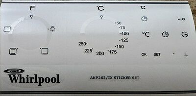 Whirpool AKP 262/IX  oven, cooker panel, decal, stickers, may suit others.