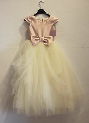 NEW with Tag Zoe Ltd Lily Gown Dress Princess Tulle Blush Ivory Sz. 7 Bow
