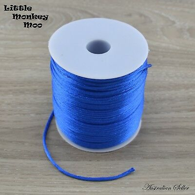 Blue Satin Nylon Cord 2mm Teething DIY Necklace Beads Jewellery 1 to 40 Meters