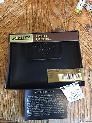 Vtg Amity Leather Black Bi-Fold Wallet Cardette NEW IN PACKAGE USA Made