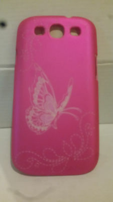 Hot Pink Butterfly Hard Back Shell Back Case for Samsung Galaxy S3