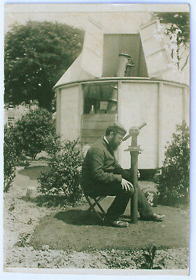 VINTAGE PHOTOGRAPH of ASTRONOMER and TELESCOPES ca 1880
