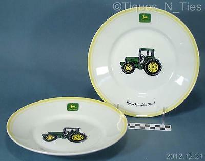 2 John Deere Gibson China Nothing Runs Like A Deere! Salad Dessert Plates (FF)