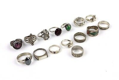 Collection of 15 x STERLING SILVER Mixed Design Band & Stone Set Rings - 73g