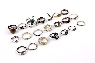 Collection of 20 x STERLING SILVER Mixed Design Band & Stone Set Rings - 52g