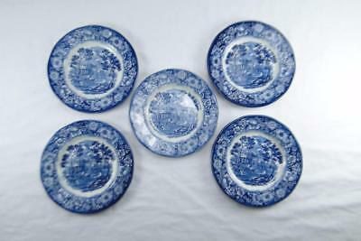 Liberty Blue Historic Colonial Scenes 5 Side Plates Monticello, Enoch Wedgwood