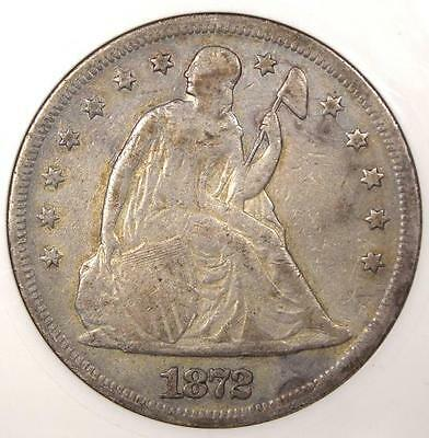 1872 Seated Liberty Silver Dollar $1 - ANACS VF Details / Net F12 - Rare Coin