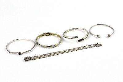 Collection of 5 x .925 STERLING SILVER Mixed Design Bracelets & Bangles - 62g